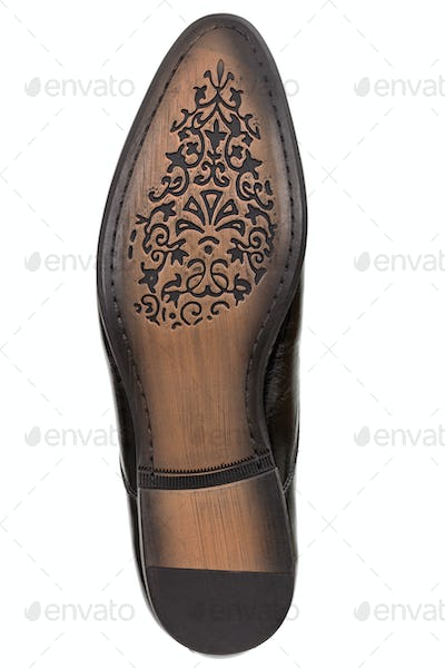 Leather sole of classic men's shoes, isolated on white backgroun