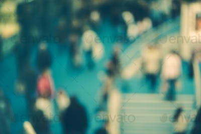 Abstract blurred people in exhibition hall event