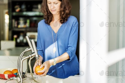 Mom Son Washing Fruits Togetherness Cheerful Concept