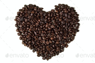 Heart From Coffee Beans. Isolated On White Background.