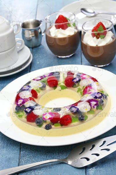 christmas wreath bavarois and chocolate mousse, homemade jelly dessert