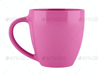 pink ceramic cup isolated on white background. 3d illustration