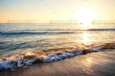 Sandy beach with waves