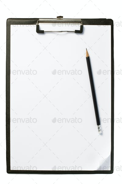 clipboard with blank paper and pencil