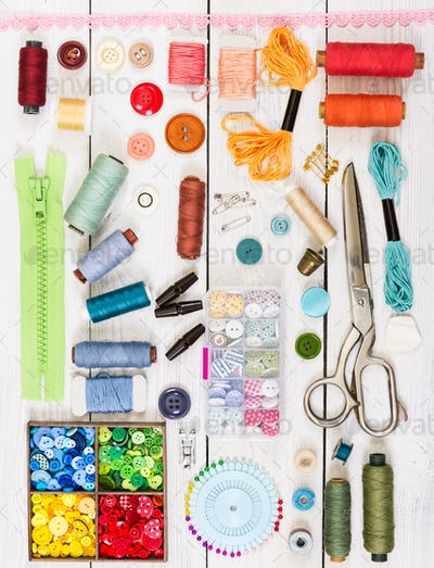 Tools and accessories for sewing. Top view. Flat lay composition