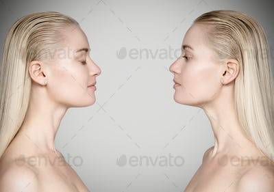 Young Beautiful Woman Looking At Herself. Opposition Concept.