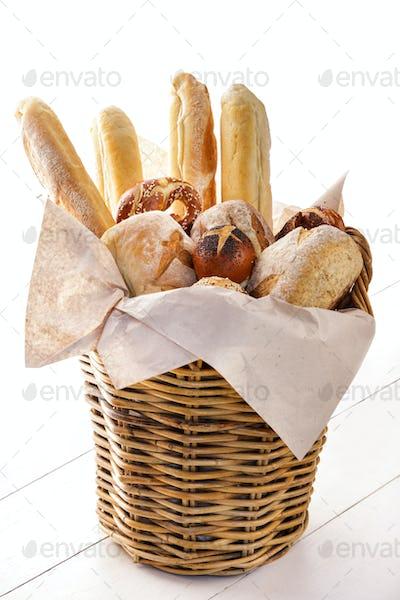 fresh baked bread on basket