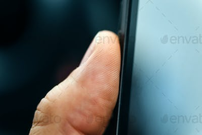 Unlocking smart phone with fingerprint sensor scan