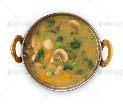 Vegan and vegetarian indian cuisine dish, mushroom soup