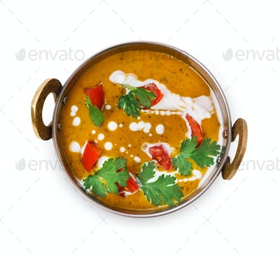 Vegan and vegetarian indian cuisine dish, spicy lentil dahl soup