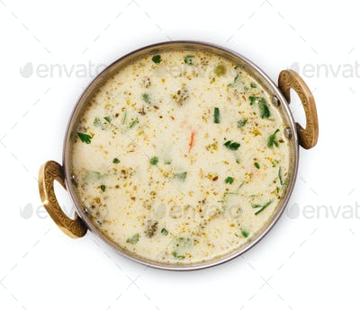 Vegan and vegetarian indian cuisine dish, cold yoghurt raita soup