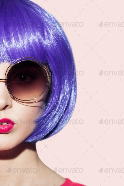 Pop Art Woman Portrait Wearing Purple Wig.