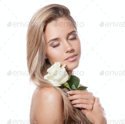 Beautiful Blond Girl With White Rose