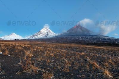 Eruption Klyuchevskoy Volcano in Kamchatka Peninsula