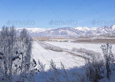 Snowy valley on Altai mountains