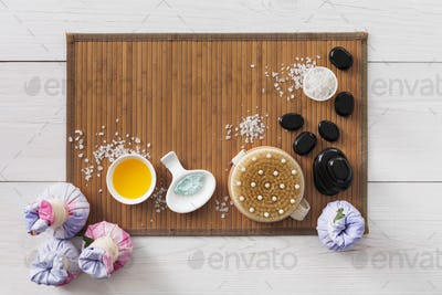 Spa treatment, aromatherapy top view background. Details and accesories