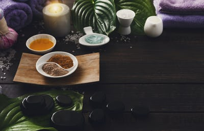 Spa treatment, aromatherapy background. Details and accessories
