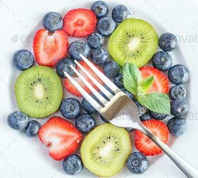 Mixed berries and kiwi fruit