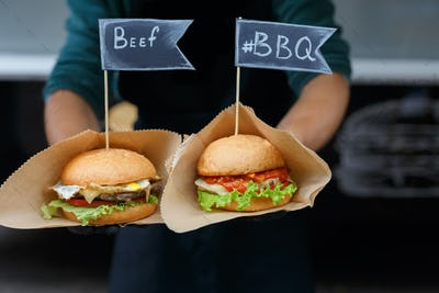 Street fast food, beef hamburgers with bbq grilled steak