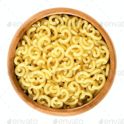 Gobbetti pasta in wooden bowl