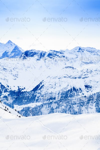 Beautiful mountain landscape.  Winter mountains panorama