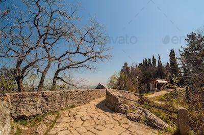 Stone road to the Cesta tower, De La Fratta in San Marino Republic