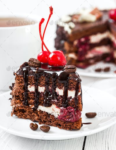 Chocolate cake with cherry on light background