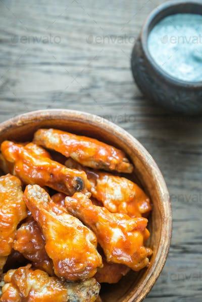 Bowl of buffalo chicken wings