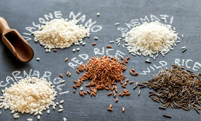 Different kinds of rice on the dark background