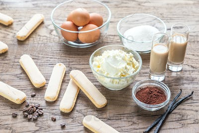 Ingredients for tiramisu on the wooden background