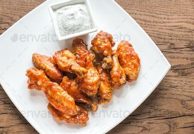 Portion of buffalo chicken wings