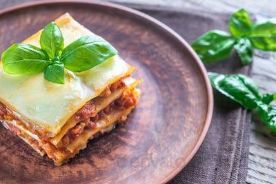 Portion of classic lasagne