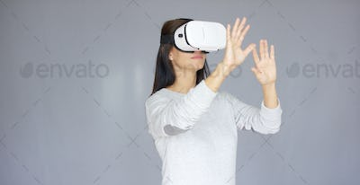 Woman with Virtual Reality 3D glasses