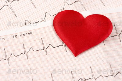 Cardiogram chart with red heart