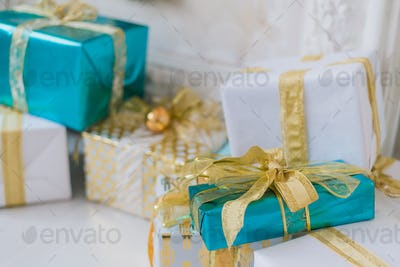 Gift boxes and decoration on a light background