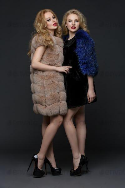 Two beautiful girls in fashion fur coats