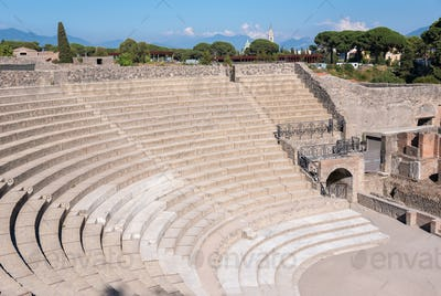 Small Roman theater in the ancient city of Pompeii