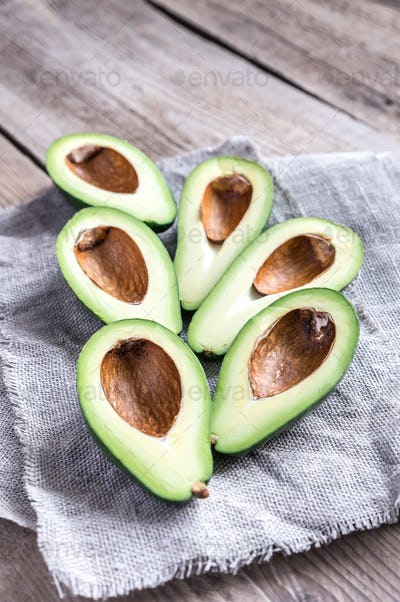 Avocado on the wooden table