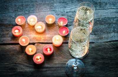 St Valentine's day candles with champagne