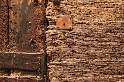 Fragment of old wooden door