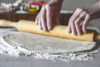 Rolling dough for calzone horizontal