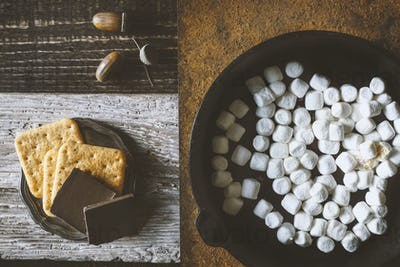 Ingredients for smores  on the different backgrounds top view