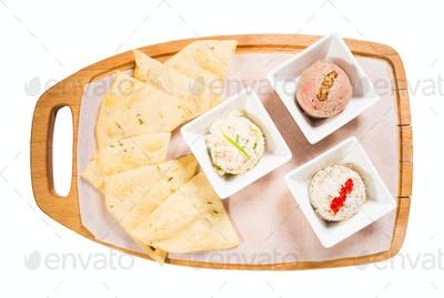 Platter with italian focaccia and various pates.