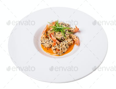 Delicious grilled jumbo shrimps with sesame.