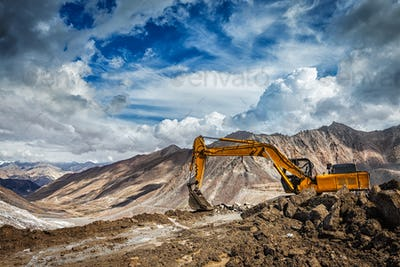 Road construction in mountains Himalayas