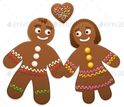 Gingerbread Couple Man Woman Love