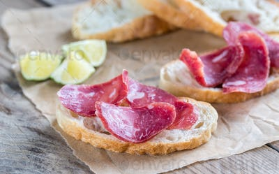 Ciabatta sandwiches with fuet