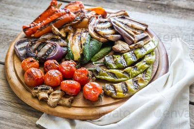 Grilled vegetables on the wooden board