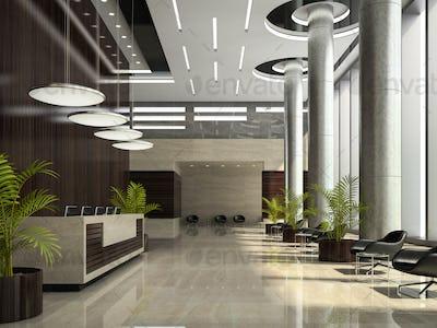 Interior of a hotel reception 3D illustration