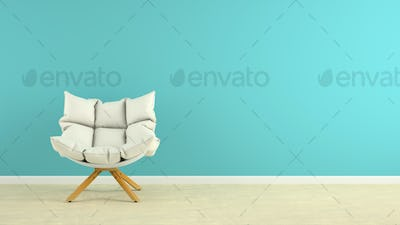 Interior with armchair 3D rendering